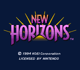 Uncharted Waters - New Horizons (USA) Title Screen