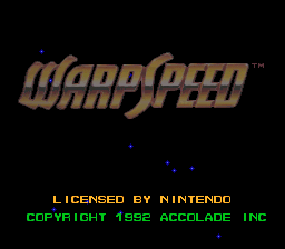 Warp Speed (USA) Title Screen