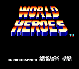 World Heroes (Japan) Title Screen