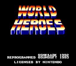 World Heroes (USA) Title Screen