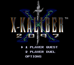 X-Kaliber 2097 (USA) (Beta) Title Screen