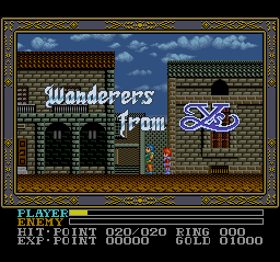 Ys III - Wanderers from Ys (Japan) Title Screen