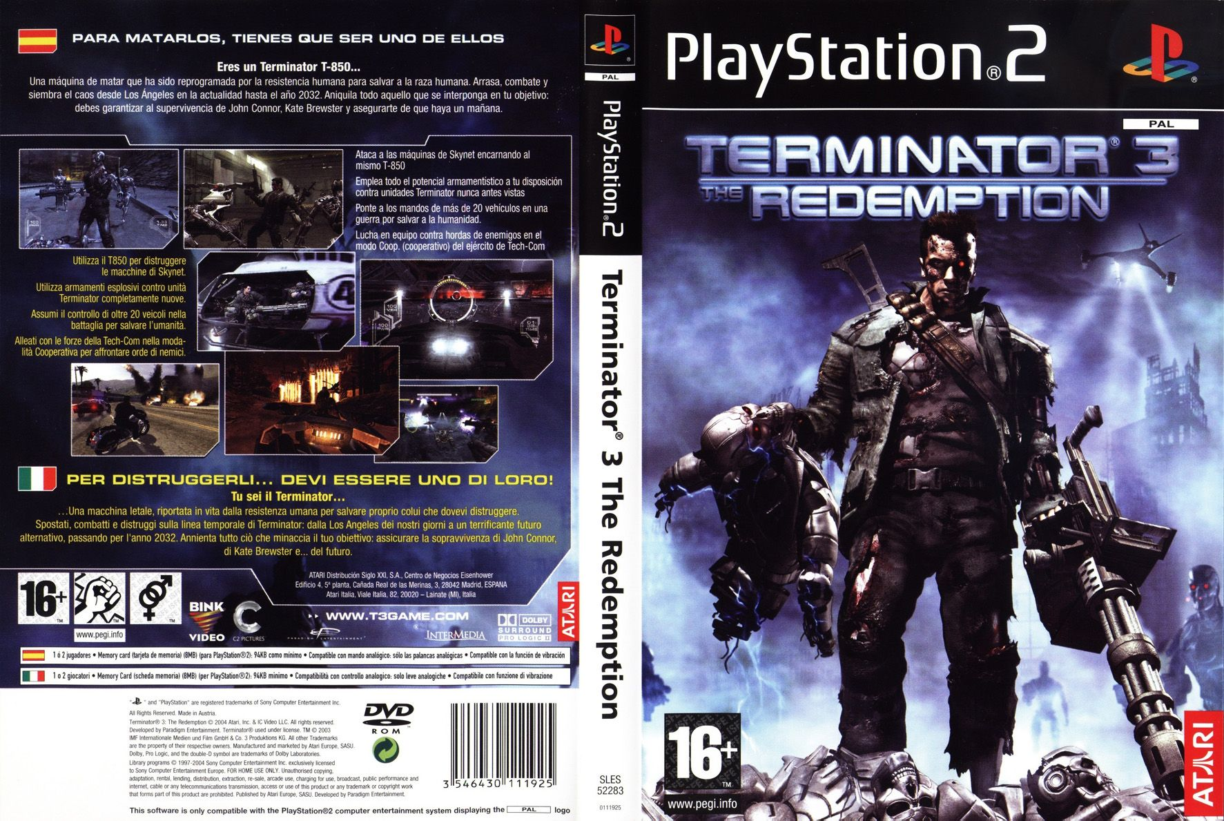 terminator 3 - the redemption (australia) (en,fr,de,es,it) iso < ps2