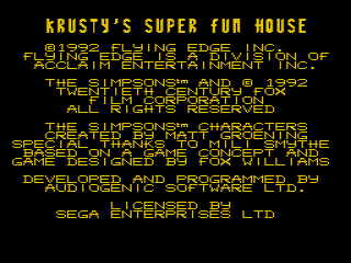 Screenshot Thumbnail / Media File 1 for Krusty's Super Fun House (USA, Europe) (v1.1)