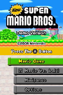 Screenshot Thumbnail / Media File 1 for new super mario bros. (demo) (u)(jd)